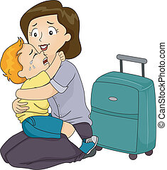 Boy Clinging to His Mother - Illustration of a Boy Clinging...