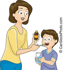 Mom Giving Son Vitamins - Illustration of a Mother Giving...
