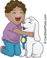 Best Dog Award - Illustration of an African-American Boy...