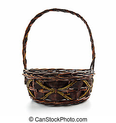 Empty wicker basket - Empty wicker basket isolated on white...