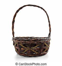 Empty wicker basket - Empty wicker basket isolated on white...
