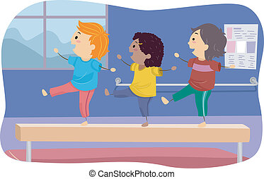 Balance Beam Kids - Illustration of Kids Standing on a...