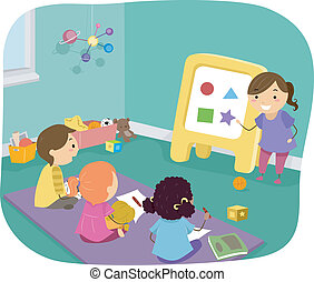Kids Learning Basic Shapes - Illustration of Preschool Kids...