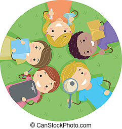 Kids Lying on the Grass - Illustration of Kids Studying...