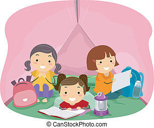 Tent Girls - Illustration of Girls in a Pink Camping Tent