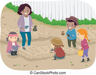 Kids Planting - Illustration of a Teacher and Her Students...