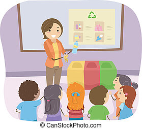 Recycling Lesson - Illustration of a Teacher Teaching Her...