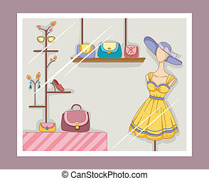 Boutique Window - Illustration Featuring a Boutique Window...