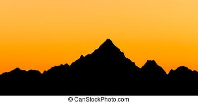 Monviso  silhouette, Piedmont, Italy