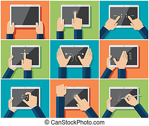 Multi-touch gestures - Set of flat hand icons showing...