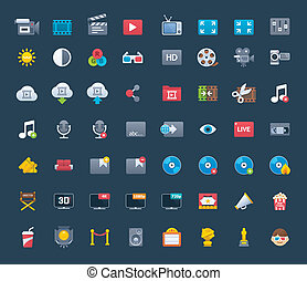 Video icon set - Set of the video related icons