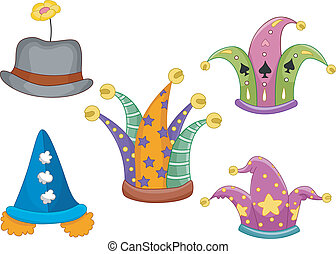 Clown Hats - Illustration Featuring Different Types of Hats...