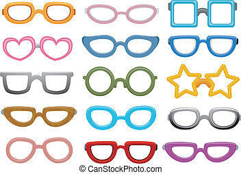 Eyeglasses Design - Illustration Featuring Different...