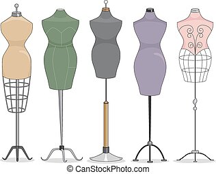 Mannequins - Illustration Featuring a Line Up of Mannequins
