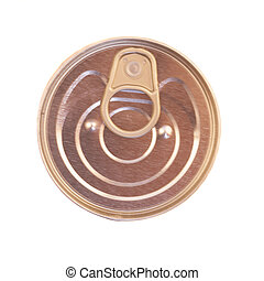 Tin can with ring pull. Top view