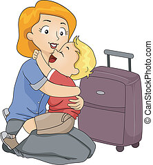 Goodbye Hug - Illustration of a Little Boy Giving His Mother...