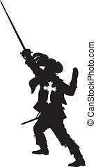 Musketeer with sword detailed vector silhouette. EPS 8