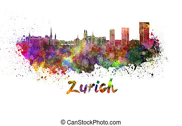 Zurich skyline in watercolor splatters with clipping path