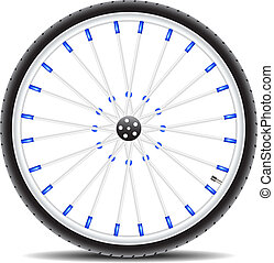 Bicycle wheel and shadow on white background