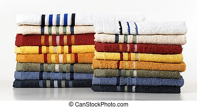 Towels - Coloured towels isolated on a white background