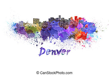 Denver skyline in watercolor splatters with clipping path