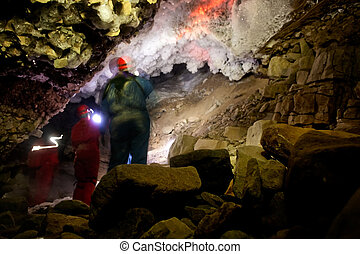 Cave Exploration - A dark and mysterious snow ice cave - A...