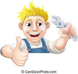 Wrench man over banner thumbs up - A mechanic or plumber...