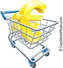 Euro currency shopping cart - Euro currency trolley concept...