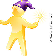 Wizard waving a wand - A gold wizard mascot waving a wand...