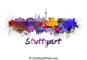 Stuttgart skyline in watercolor splatters with clipping path