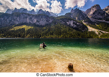 Scuba diving in high mountains lake Austria