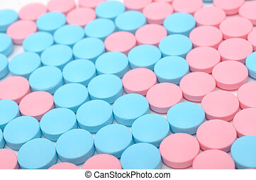 Blue and Pink Pills Close-up