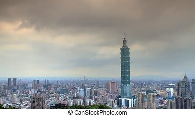 beautiful view of Taipei city, Taiwan time lapse