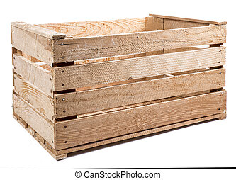 wooden crate on the white background