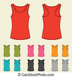 Set of templates colored singlets for women.