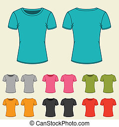 Set of templates colored t-shirts for women