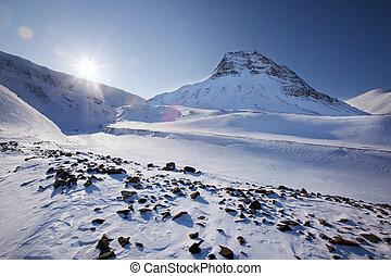 Svalbard - Mountain landscape on the island of Spitsbergen,...