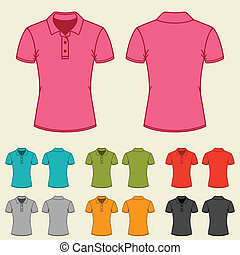Set of templates colored polo shirts for women.
