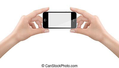 Hands holding a Smartphone for a photo - Studio shoot of...