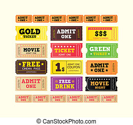 Vintage cinema tickets BIG COLLECTION - On movie or to...