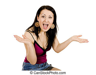 shocked woman gesticulating