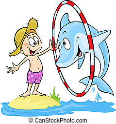 child playing with dolphin - cute vector illustration - dolphin jump  through the ring