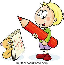 Junge, Bleistift,  -, abbildung, katz, vektor, Zeichnung, rotes