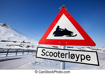 Snowmobile Trail - A sign for a snowmobile trail in...