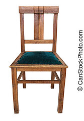 Classic vintage wooden chair in retro style. On a white background.