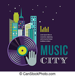 Music and night life of city landscape background - Music...