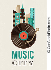 Music and city landscape background - Music and city...