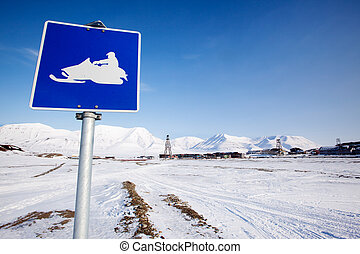 Snowmobile Sign - A snowmobile trail sign in Longyearbyen,...