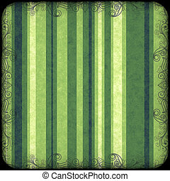 Green striped background with grunge and curl border