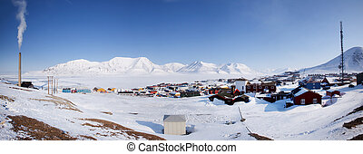 Longyearbyen on the island of Spitsbergen, Norway The...